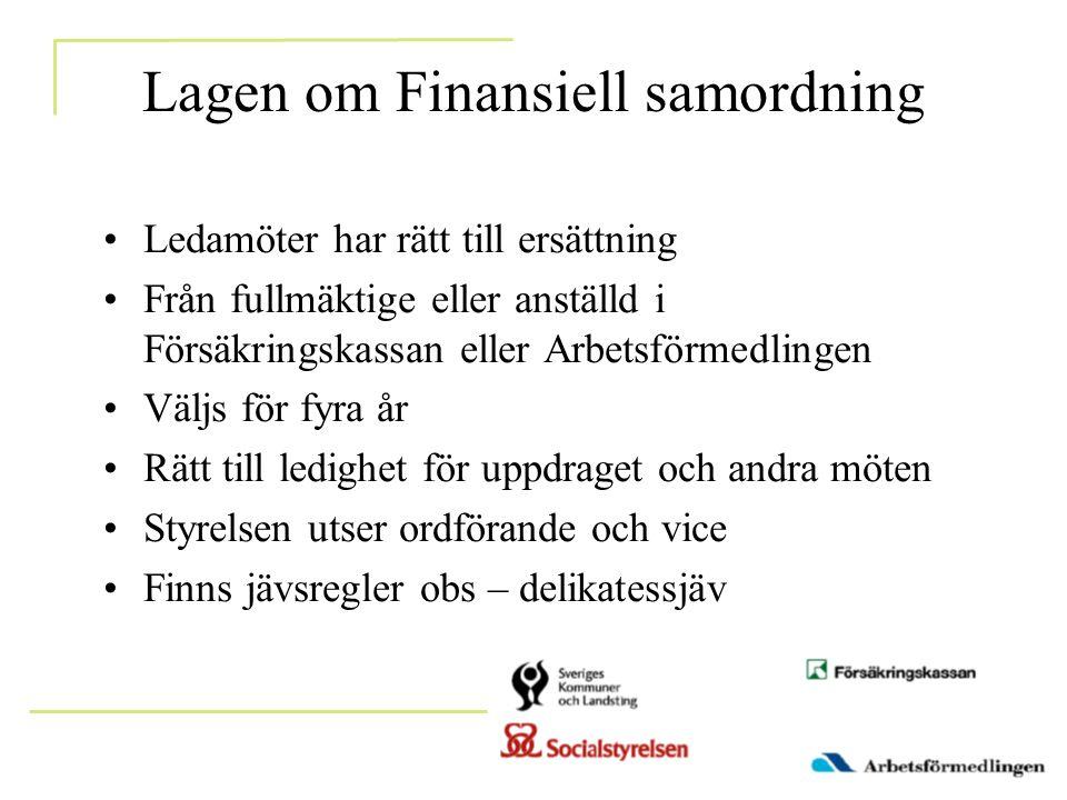 Lagen om Finansiell samordning •Ledamöter har rätt till ersättning •Från fullmäktige eller anställd i Försäkringskassan eller Arbetsförmedlingen •Välj
