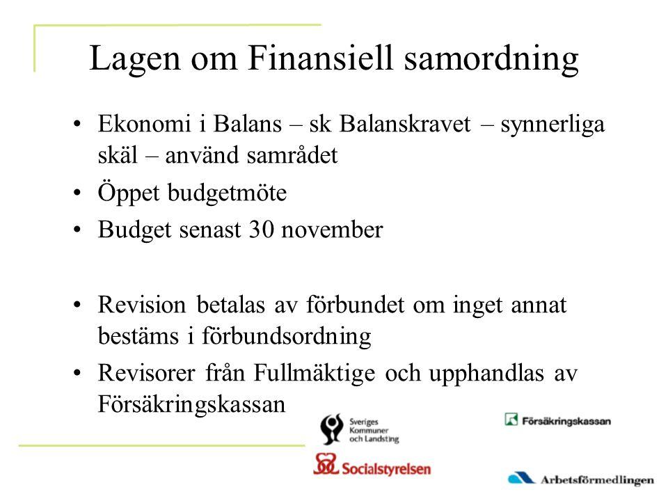 Lagen om Finansiell samordning •Ekonomi i Balans – sk Balanskravet – synnerliga skäl – använd samrådet •Öppet budgetmöte •Budget senast 30 november •R