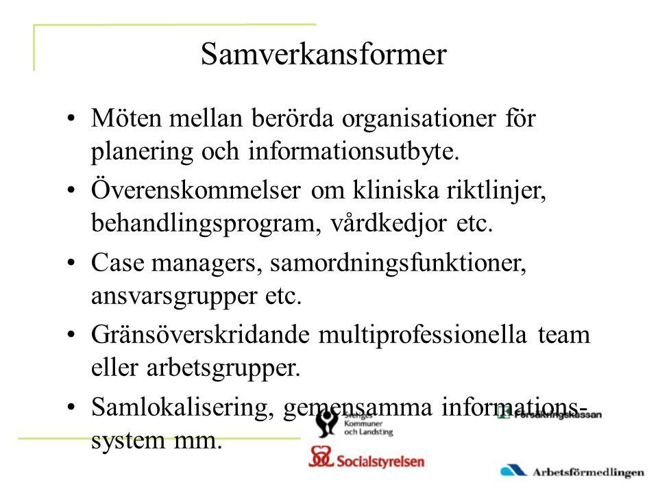 Samverkansformer •Möten mellan berörda organisationer för planering och informationsutbyte. •Överenskommelser om kliniska riktlinjer, behandlingsprogr