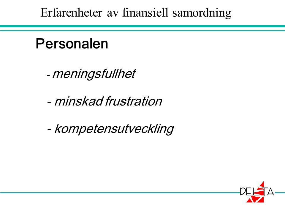 Erfarenheter av finansiell samordning Personalen - meningsfullhet - minskad frustration - kompetensutveckling