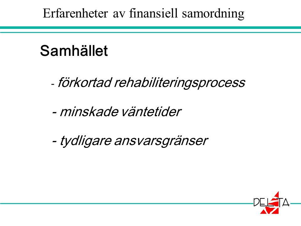 Erfarenheter av finansiell samordning Samhället - förkortad rehabiliteringsprocess - minskade väntetider - tydligare ansvarsgränser