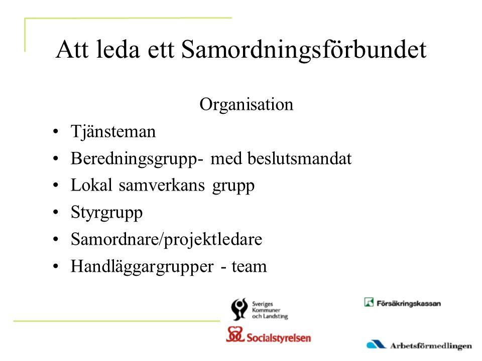 Att leda ett Samordningsförbundet Organisation •Tjänsteman •Beredningsgrupp- med beslutsmandat •Lokal samverkans grupp •Styrgrupp •Samordnare/projektledare •Handläggargrupper - team
