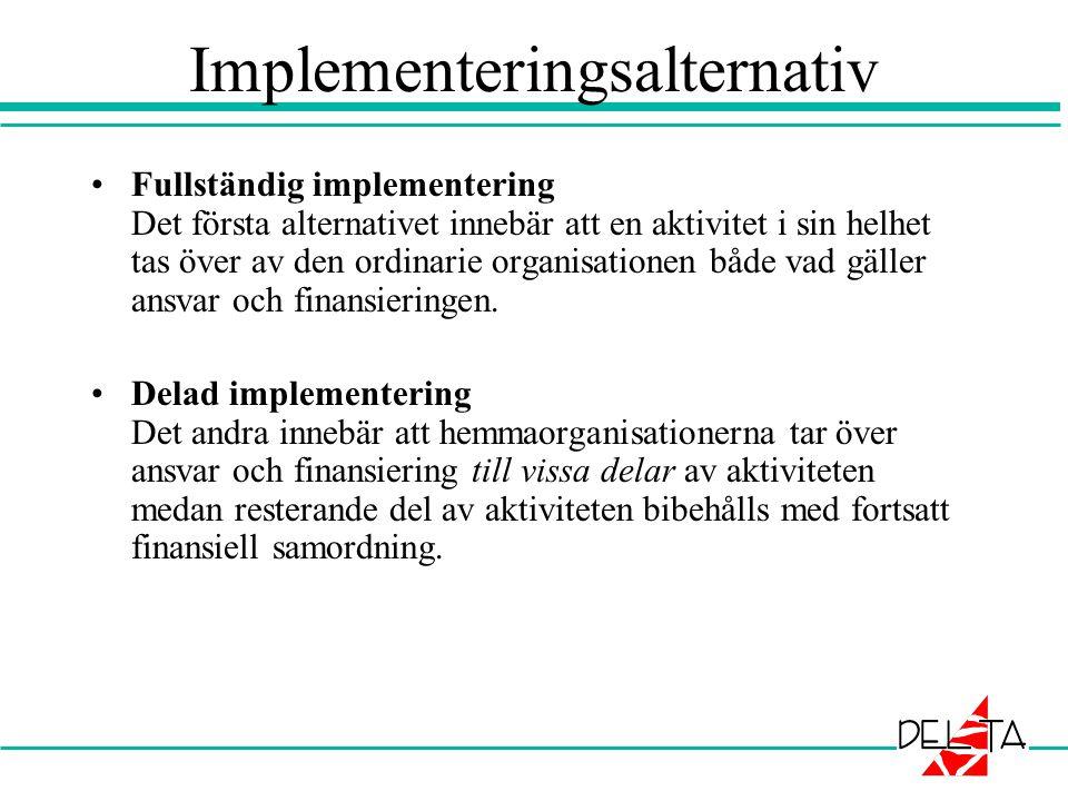 Implementeringsalternativ •Fullständig implementering Det första alternativet innebär att en aktivitet i sin helhet tas över av den ordinarie organisa