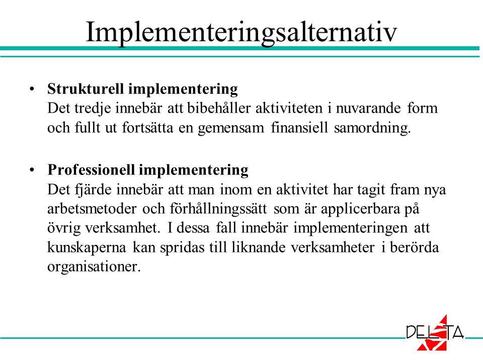 Implementeringsalternativ •Strukturell implementering Det tredje innebär att bibehåller aktiviteten i nuvarande form och fullt ut fortsätta en gemensa
