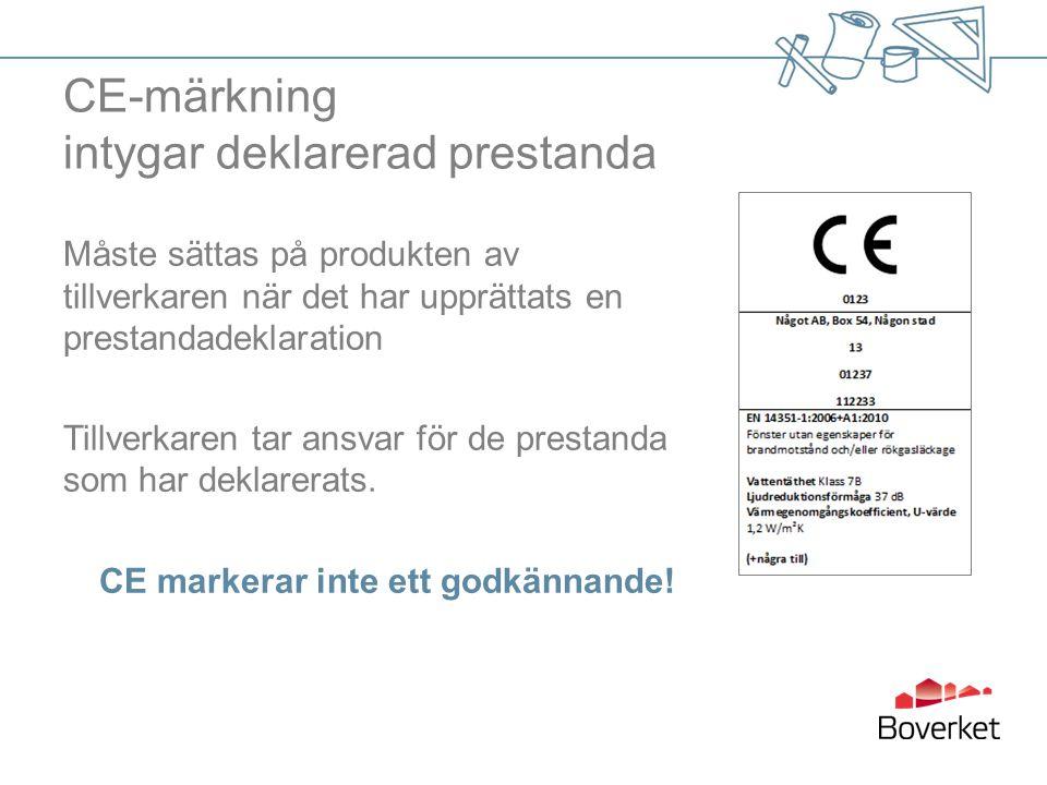 CE-märkning intygar deklarerad prestanda Måste sättas på produkten av tillverkaren när det har upprättats en prestandadeklaration Tillverkaren tar ansvar för de prestanda som har deklarerats.