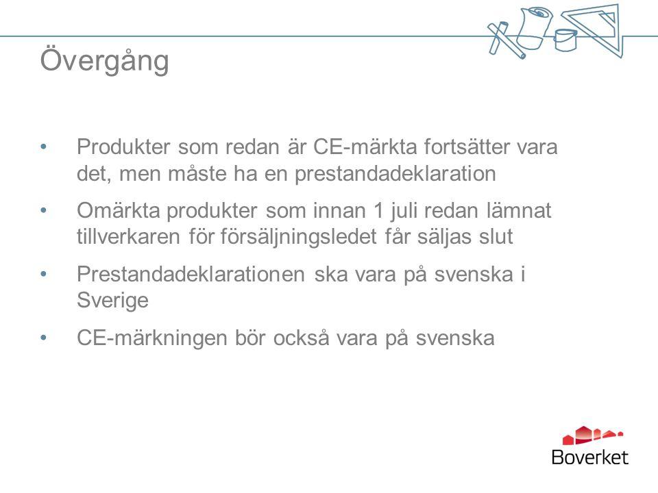 Övergång •Produkter som redan är CE-märkta fortsätter vara det, men måste ha en prestandadeklaration •Omärkta produkter som innan 1 juli redan lämnat tillverkaren för försäljningsledet får säljas slut •Prestandadeklarationen ska vara på svenska i Sverige •CE-märkningen bör också vara på svenska
