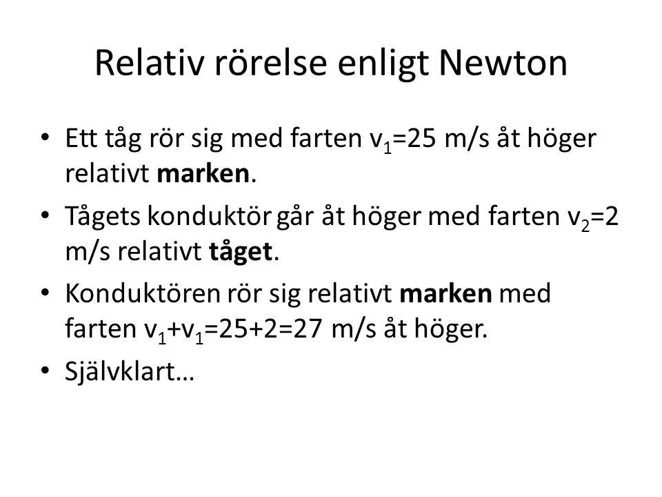 Relativ rörelse enligt Newton • Ett tåg rör sig med farten v 1 =25 m/s åt höger relativt marken. • Tågets konduktör går åt höger med farten v 2 =2 m/s
