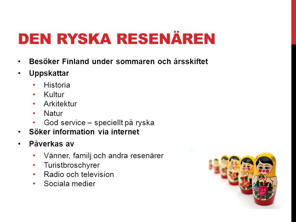 DEN RYSKA RESENÄREN •Besöker Finland under sommaren och årsskiftet •Uppskattar •Historia •Kultur •Arkitektur •Natur •God service – speciellt på ryska