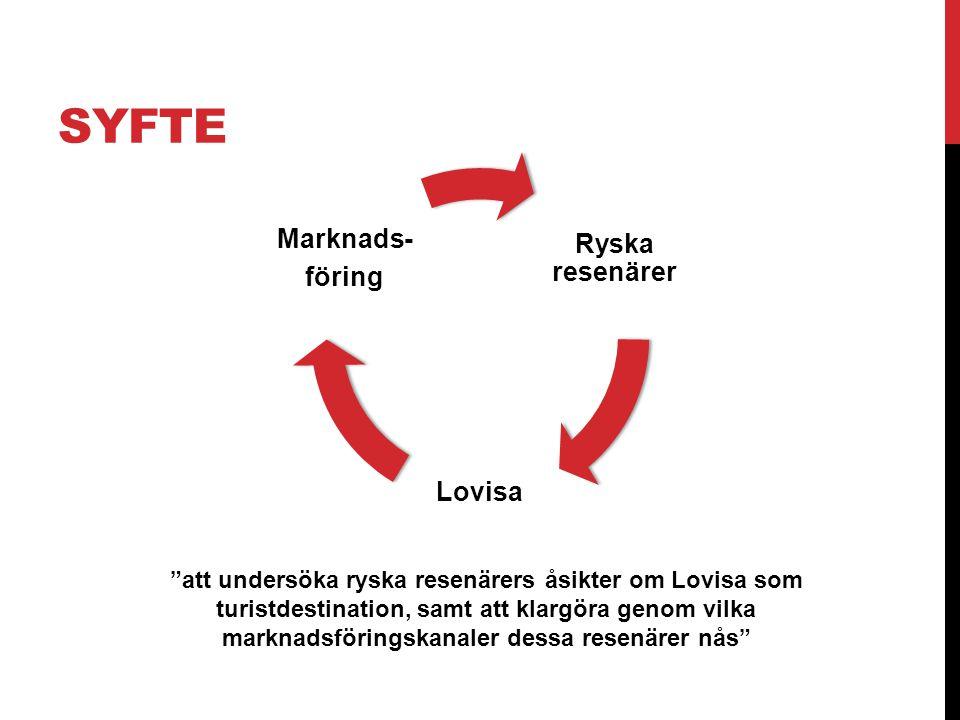 """SYFTE """"att undersöka ryska resenärers åsikter om Lovisa som turistdestination, samt att klargöra genom vilka marknadsföringskanaler dessa resenärer nå"""