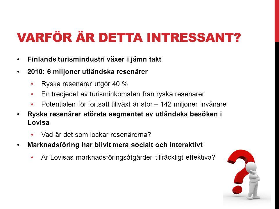 VARFÖR ÄR DETTA INTRESSANT? •Finlands turismindustri växer i jämn takt •2010: 6 miljoner utländska resenärer •Ryska resenärer utgör 40 % •En tredjedel