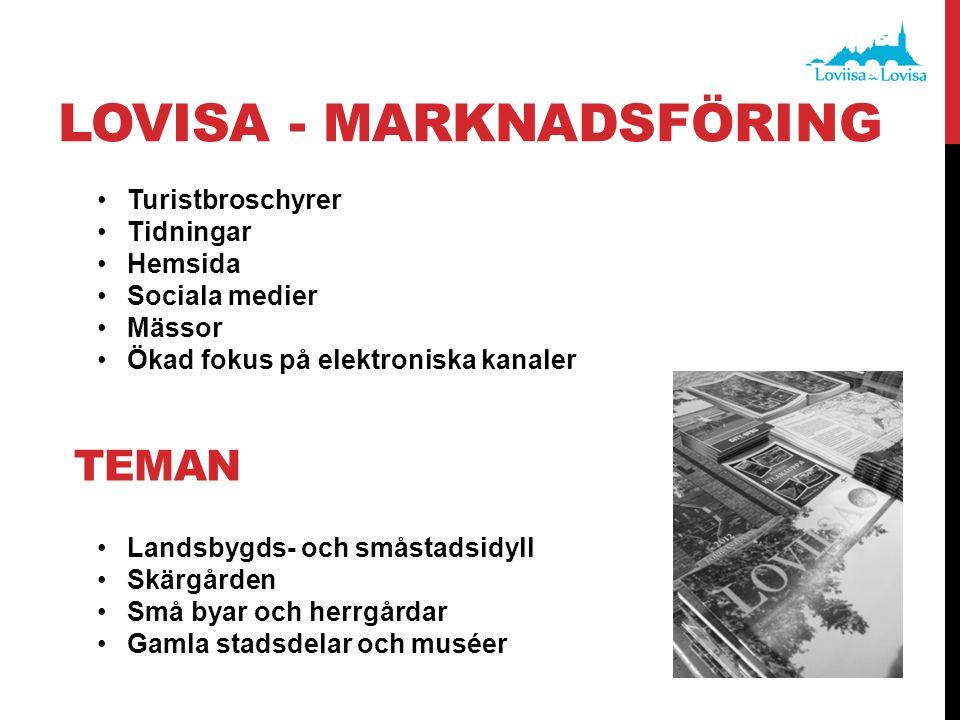 LOVISA - MARKNADSFÖRING •Turistbroschyrer •Tidningar •Hemsida •Sociala medier •Mässor •Ökad fokus på elektroniska kanaler •Landsbygds- och småstadsidy