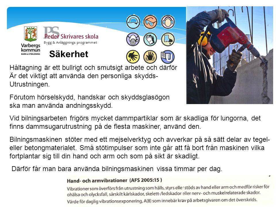 Bygg & Anläggnings programmet Säkerhet Håltagning är ett bullrigt och smutsigt arbete och därför Är det viktigt att använda den personliga skydds- Utr