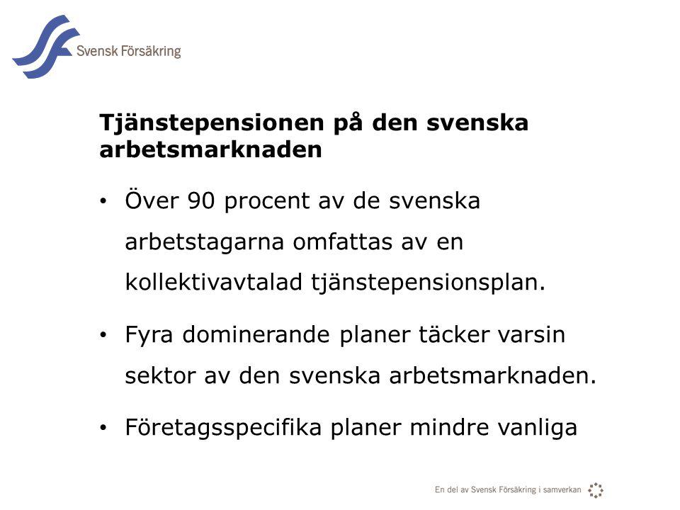 En del av svensk Försäkring i samverkan Tjänstepensionen på den svenska arbetsmarknaden • Över 90 procent av de svenska arbetstagarna omfattas av en k