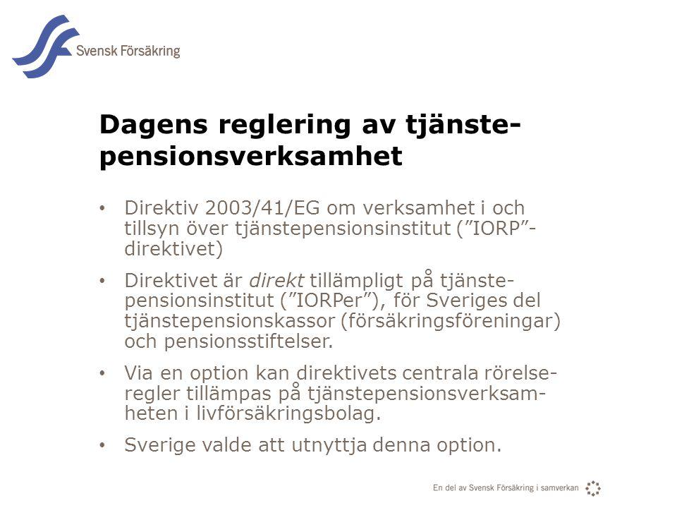 En del av svensk Försäkring i samverkan Dagens reglering av tjänste- pensionsverksamhet • Direktiv 2003/41/EG om verksamhet i och tillsyn över tjänste