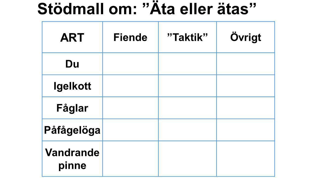 """Stödmall om: """"Äta eller ätas"""" ART Fiende""""Taktik""""Övrigt Du Igelkott Fåglar Påfågelöga Vandrande pinne"""