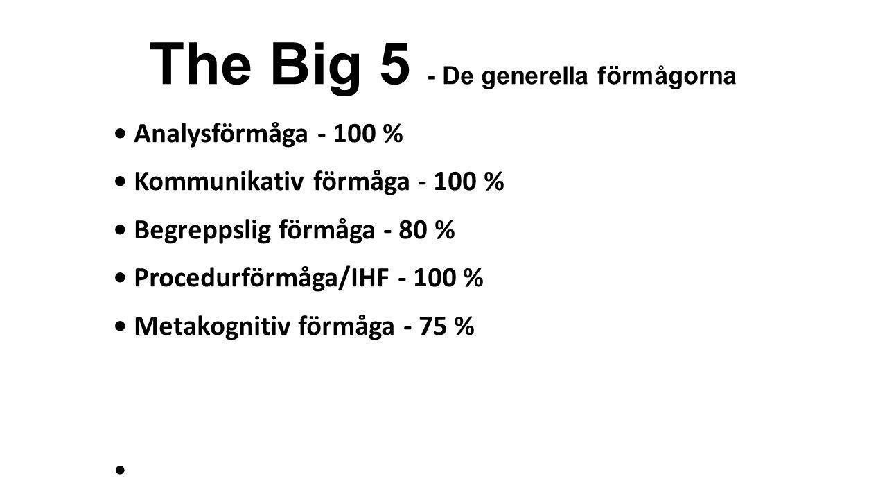 The Big 5 - De generella förmågorna • Analysförmåga - 100 % • Kommunikativ förmåga - 100 % • Begreppslig förmåga - 80 % • Procedurförmåga/IHF - 100 %