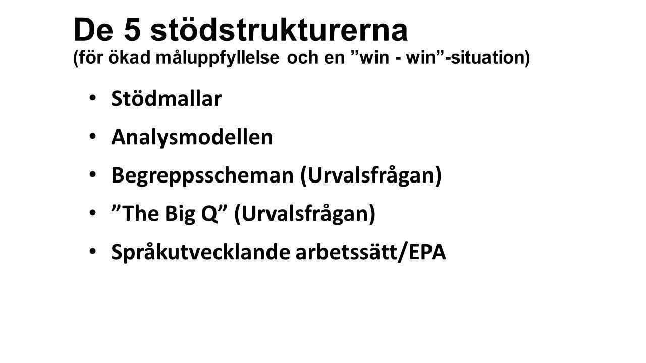 """De 5 stödstrukturerna (för ökad måluppfyllelse och en """"win - win""""-situation) • Stödmallar • Analysmodellen • Begreppsscheman (Urvalsfrågan) • """"The Big"""