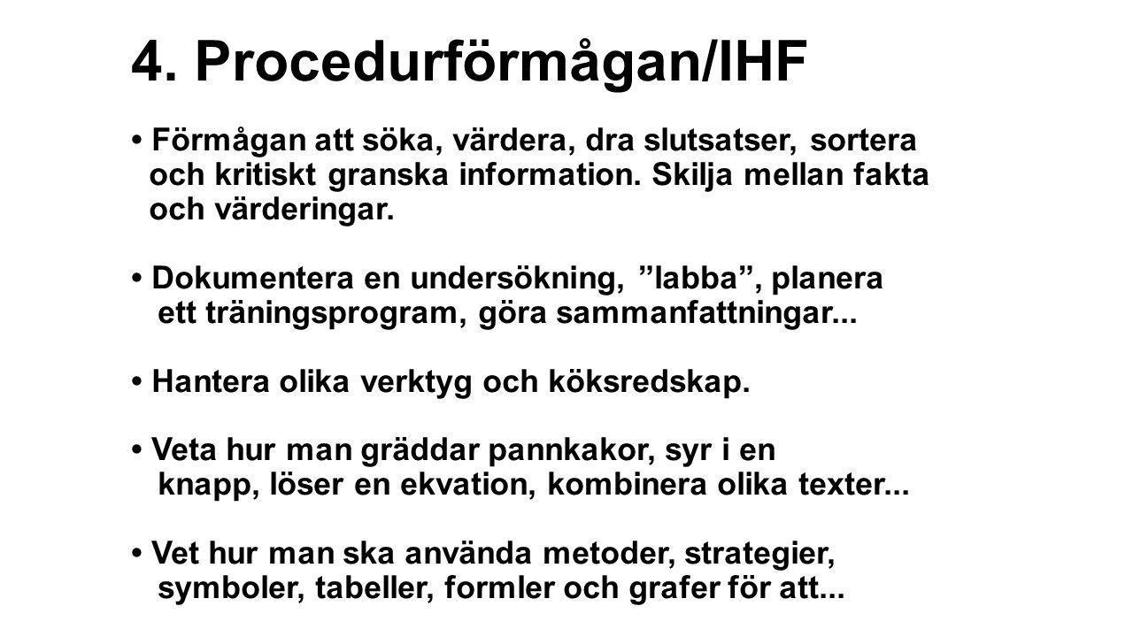4. Procedurförmågan/IHF • Förmågan att söka, värdera, dra slutsatser, sortera och kritiskt granska information. Skilja mellan fakta och värderingar. •