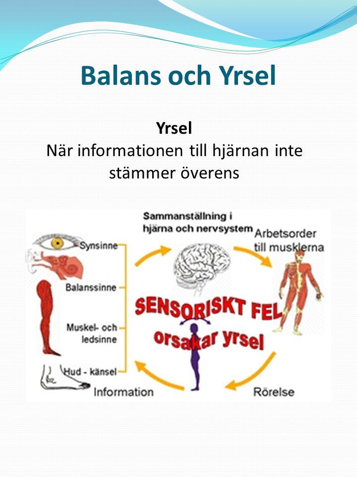 Balans och Yrsel Yrsel När informationen till hjärnan inte stämmer överens