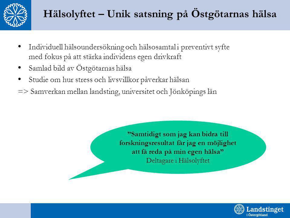 Hälsolyftet – Unik satsning på Östgötarnas hälsa •Individuell hälsoundersökning och hälsosamtal i preventivt syfte med fokus på att stärka individens