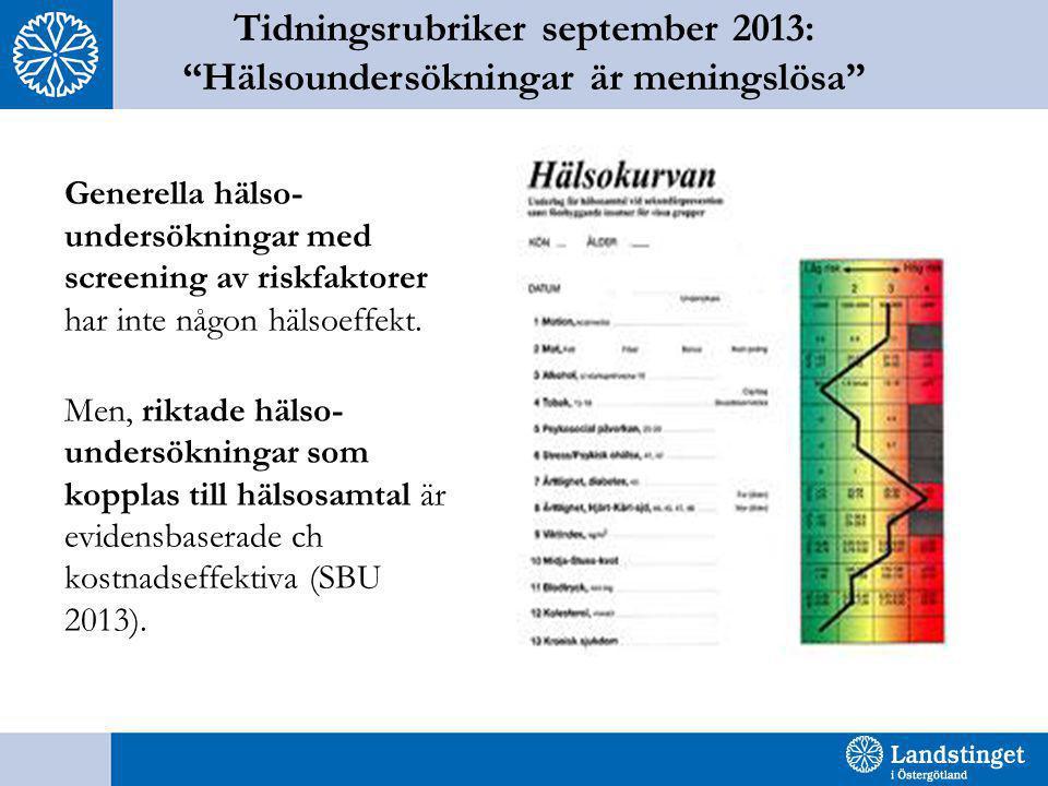 """Tidningsrubriker september 2013: """"Hälsoundersökningar är meningslösa"""" Generella hälso- undersökningar med screening av riskfaktorer har inte någon häl"""