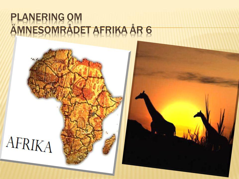 SYFTEMÅL  Du ska få lära er mer om världsdelen Afrika och dess länder.