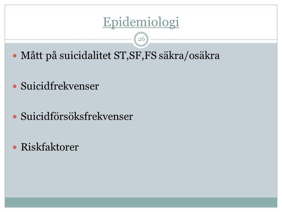 Epidemiologi  Mått på suicidalitet ST,SF,FS säkra/osäkra  Suicidfrekvenser  Suicidförsöksfrekvenser  Riskfaktorer 26