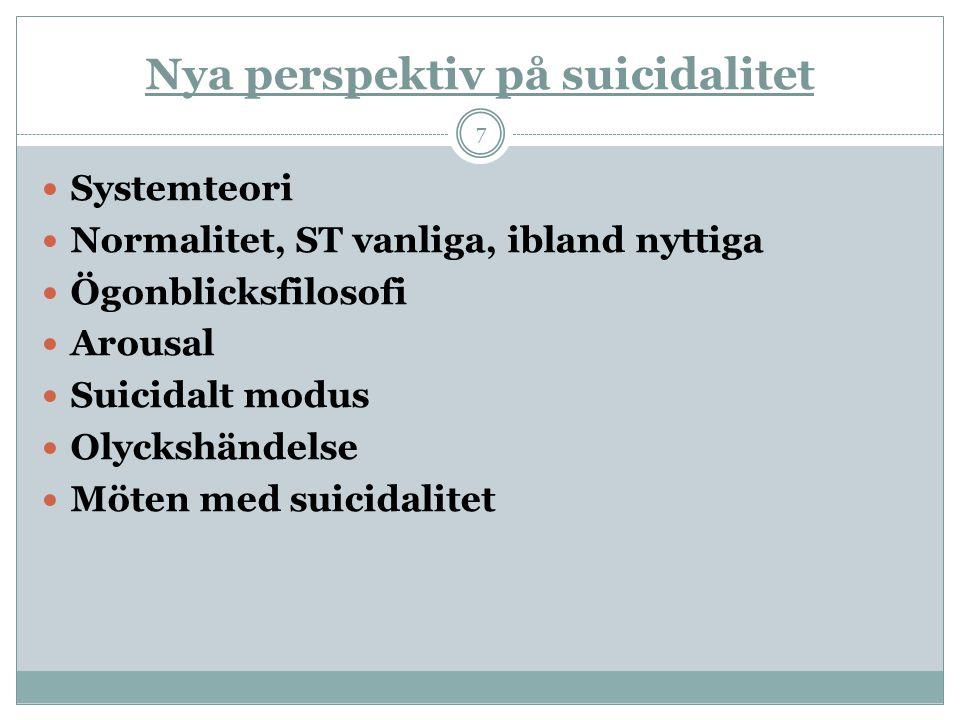 Nya perspektiv på suicidalitet  Systemteori  Normalitet, ST vanliga, ibland nyttiga  Ögonblicksfilosofi  Arousal  Suicidalt modus  Olyckshändels