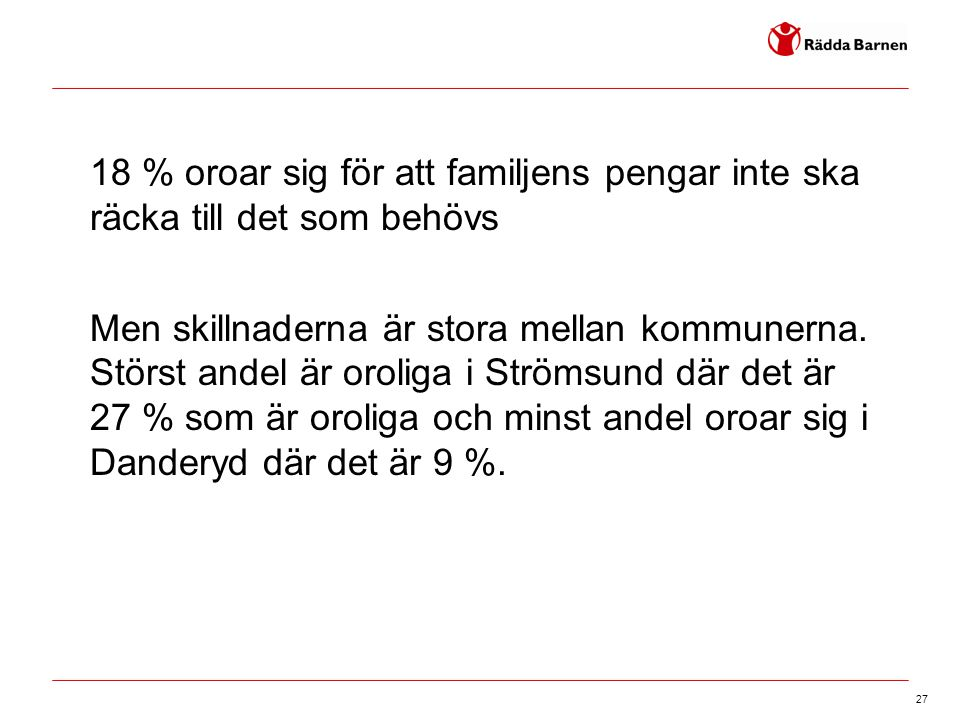 27 18 % oroar sig för att familjens pengar inte ska räcka till det som behövs Men skillnaderna är stora mellan kommunerna. Störst andel är oroliga i S