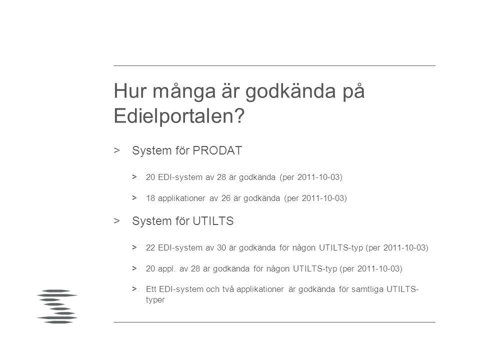 Hur många är godkända på Edielportalen? >System för PRODAT >20 EDI-system av 28 är godkända (per 2011-10-03) >18 applikationer av 26 är godkända (per