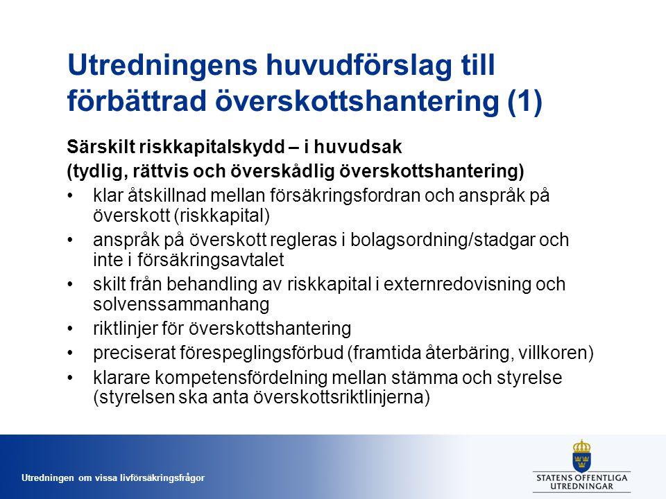 Utredningen om vissa livförsäkringsfrågor Utredningens huvudförslag till förbättrad överskottshantering (1) Särskilt riskkapitalskydd – i huvudsak (ty