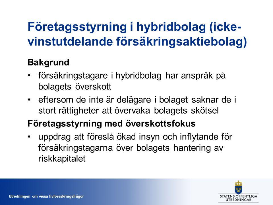 Utredningen om vissa livförsäkringsfrågor Företagsstyrning i hybridbolag (icke- vinstutdelande försäkringsaktiebolag) Bakgrund •försäkringstagare i hy