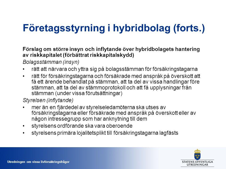 Utredningen om vissa livförsäkringsfrågor Företagsstyrning i hybridbolag (forts.) Förslag om större insyn och inflytande över hybridbolagets hantering av riskkapitalet (förbättrat riskkapitalskydd) Bolagsstämman (insyn) •rätt att närvara och yttra sig på bolagsstämman för försäkringstagarna •rätt för försäkringstagarna och försäkrade med anspråk på överskott att få ett ärende behandlat på stämman, att ta del av vissa handlingar före stämman, att ta del av stämmoprotokoll och att få upplysningar från stämman (under vissa förutsättningar) Styrelsen (inflytande) •mer än en fjärdedel av styrelseledamöterna ska utses av försäkringstagarna eller försäkrade med anspråk på överskott eller av någon intressegrupp som har anknytning till dem •styrelsens ordförande ska vara oberoende •styrelsens primära lojalitetsplikt till försäkringstagarna lagfästs