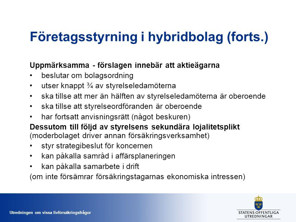 Utredningen om vissa livförsäkringsfrågor Företagsstyrning i hybridbolag (forts.) Uppmärksamma - förslagen innebär att aktieägarna •beslutar om bolags
