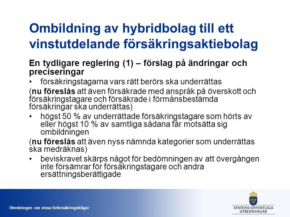 Utredningen om vissa livförsäkringsfrågor Ombildning av hybridbolag till ett vinstutdelande försäkringsaktiebolag En tydligare reglering (1) – förslag