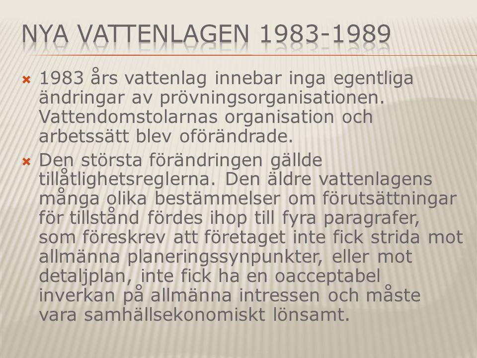  1983 års vattenlag innebar inga egentliga ändringar av prövningsorganisationen.