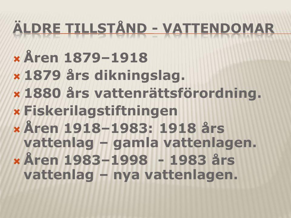  Åren 1879–1918  1879 års dikningslag. 1880 års vattenrättsförordning.