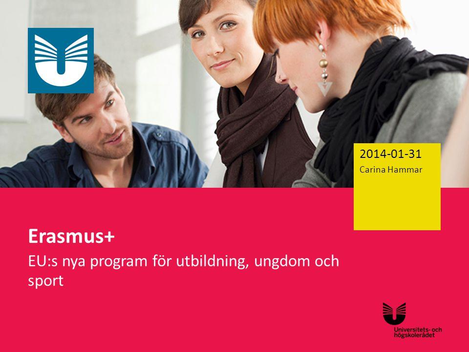 Sv Erasmus+ EU:s nya program för utbildning, ungdom och sport 2014-01-31 Carina Hammar