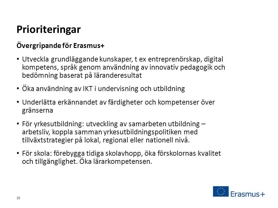 Sv Övergripande för Erasmus+ • Utveckla grundläggande kunskaper, t ex entreprenörskap, digital kompetens, språk genom användning av innovativ pedagogik och bedömning baserat på läranderesultat • Öka användning av IKT i undervisning och utbildning • Underlätta erkännandet av färdigheter och kompetenser över gränserna • För yrkesutbildning: utveckling av samarbeten utbildning – arbetsliv, koppla samman yrkesutbildningspolitiken med tillväxtstrategier på lokal, regional eller nationell nivå.