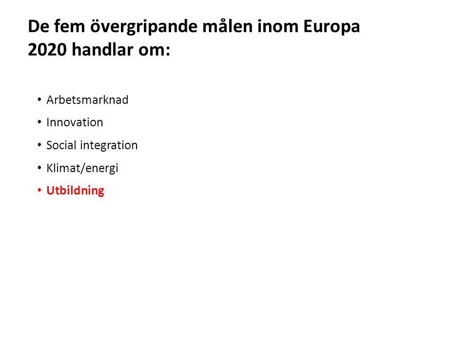 Sv • Arbetsmarknad • Innovation • Social integration • Klimat/energi • Utbildning De fem övergripande målen inom Europa 2020 handlar om: