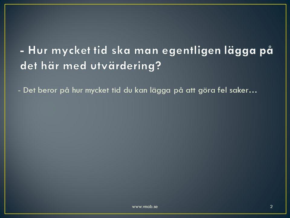 • Vad levererar vi? • Vad tycker kunderna att vi gör? • Vilka mål har vi? 33www.vnab.se