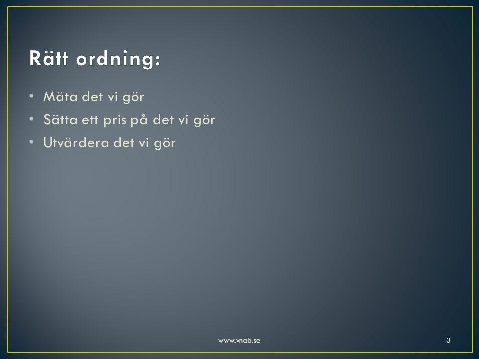 • Mäta det vi gör • Sätta ett pris på det vi gör • Utvärdera det vi gör 3www.vnab.se