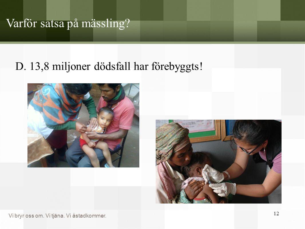Vi bryr oss om. Vi tjäna. Vi åstadkommer. Varför satsa på mässling? D. 13,8 miljoner dödsfall har förebyggts! 12