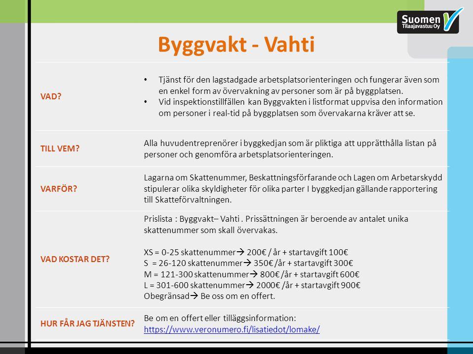 Byggvakt - Vahti VAD? • Tjänst för den lagstadgade arbetsplatsorienteringen och fungerar även som en enkel form av övervakning av personer som är på b
