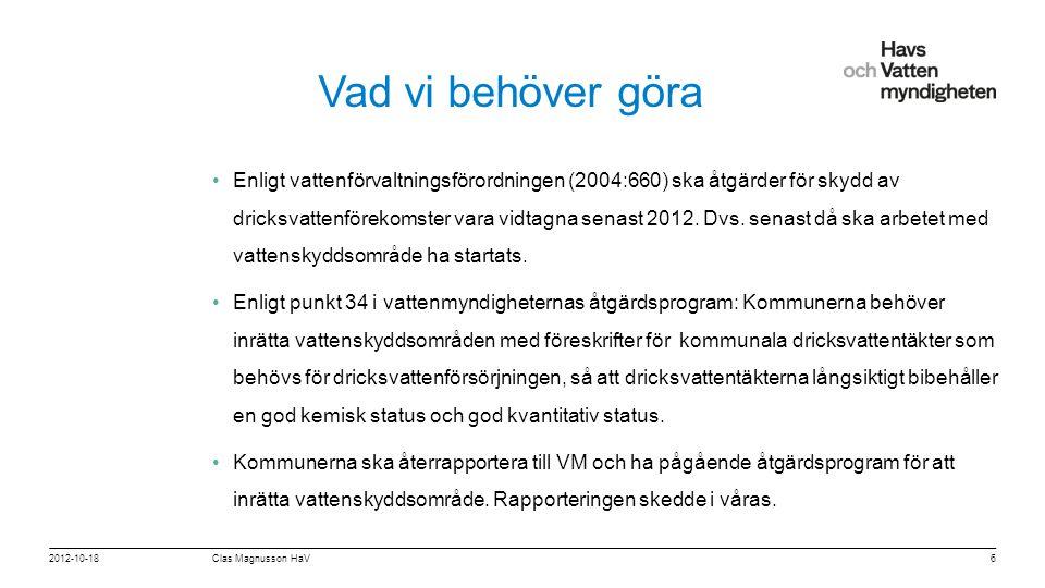 För att ändra/uppdatera/ta bort Presentationsnamn och Namn i foten, gå in på Infoga - Sidhuvud/sidfot Vad vi behöver göra •Enligt vattenförvaltningsförordningen (2004:660) ska åtgärder för skydd av dricksvattenförekomster vara vidtagna senast 2012.