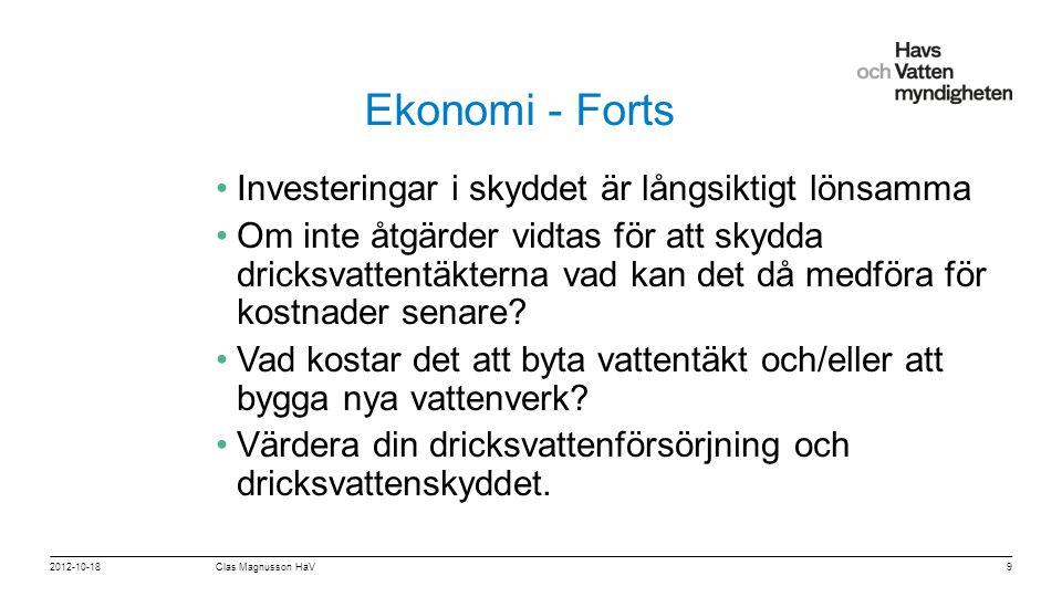 """För att ändra/uppdatera/ta bort """"Presentationsnamn"""" och """"Namn"""" i foten, gå in på """"Infoga - Sidhuvud/sidfot"""" Ekonomi - Forts •Investeringar i skyddet ä"""