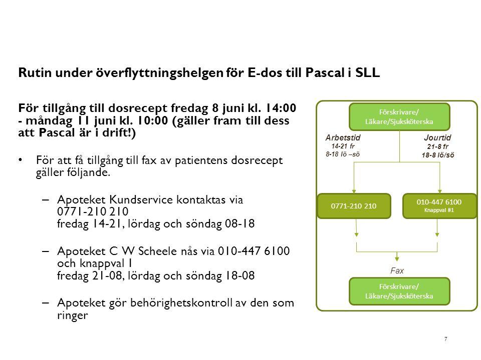 Rutin under överflyttningshelgen för E-dos till Pascal i SLL För tillgång till dosrecept fredag 8 juni kl. 14:00 - måndag 11 juni kl. 10:00 (gäller fr