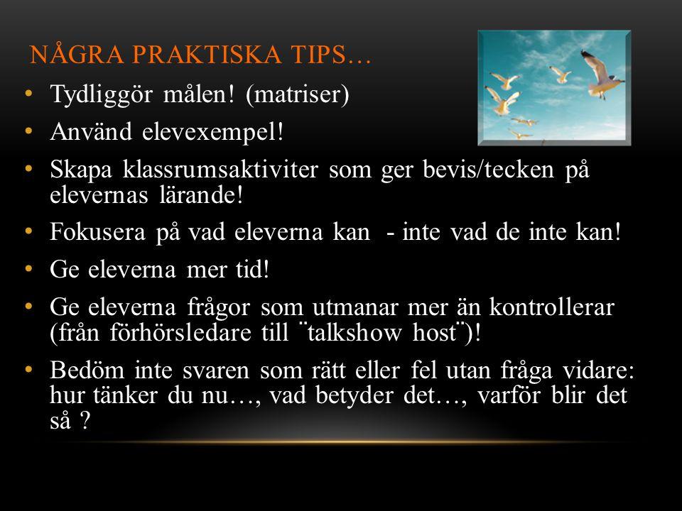 NÅGRA PRAKTISKA TIPS… • Tydliggör målen.(matriser) • Använd elevexempel.
