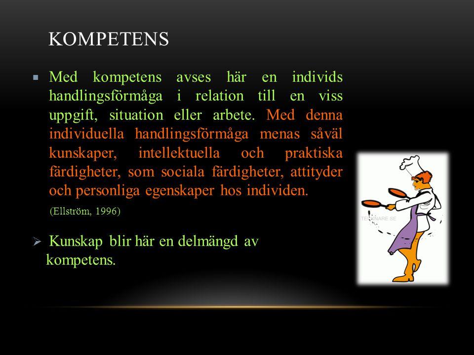 KOMPETENS  Med kompetens avses här en individs handlingsförmåga i relation till en viss uppgift, situation eller arbete.
