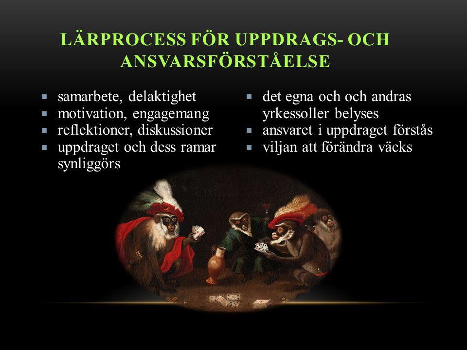 LÄRPROCESS FÖR UPPDRAGS- OCH ANSVARSFÖRSTÅELSE  samarbete, delaktighet  motivation, engagemang  reflektioner, diskussioner  uppdraget och dess ramar synliggörs  det egna och och andras yrkessoller belyses  ansvaret i uppdraget förstås  viljan att förändra väcks